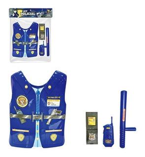 Colete Brinquedo Kit Policial Com 7 Acessórios