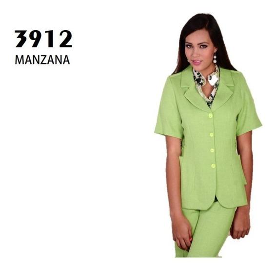 Conjunto Saco Pantalón Dama 3912 Verde Uniformes