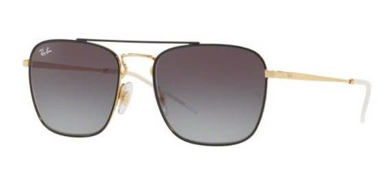 Oculos Sol Ray Ban Rb3588 90548g 55mm Dourado Preto Cinza De