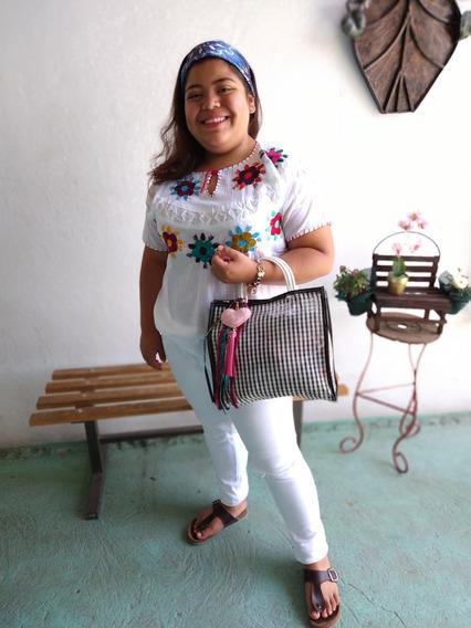 Blusa Bordada Flores Dama