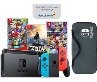 Nintendo Switch Neón + 3 Juegos Físicos. Nueva.regalo: Forro