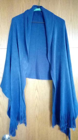 Chal, Poncho Color Azul De Lana Para Dama