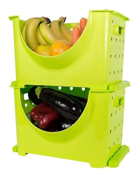 Canasto Apilable Organizador De Frutas Y Verduras (x 2 Unid)