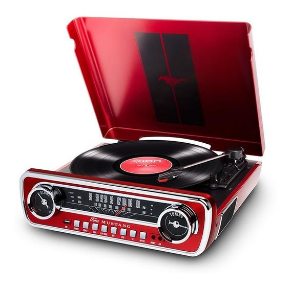 Toca Disco Ion Mustang Lp Retro Usb Entrada Mesa Rádio