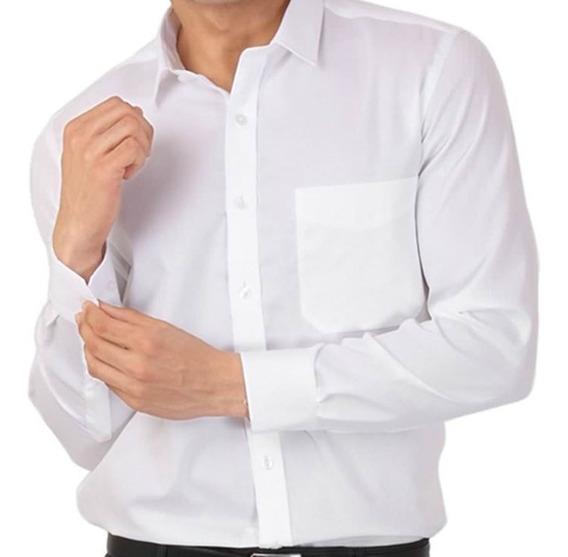 Camisa Blanca Lisa Hombre Manga Larga De Vestir Excelentes!