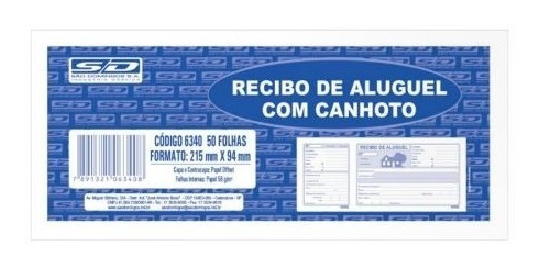 Recibo Aluguel C/canhoto Pct C/(20 Recibos)
