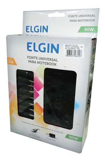 Fonte Universal Para Notebook 90w Elgin C/ 9 Conectores