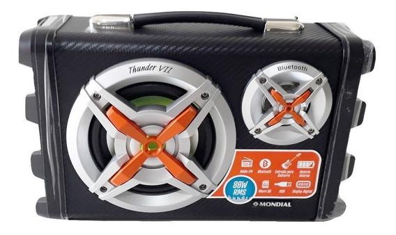 Caixa Som Amplificada Bluetooth Karaokê Mp3 Rádio Fm Usb P10 Bivolt Guitarra Violão Celular Display Digital Thunder