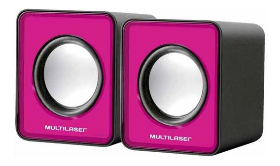 Caixa Som 3w Rms Mini Com Usb Rosa Sp198 / Un / Multilaser