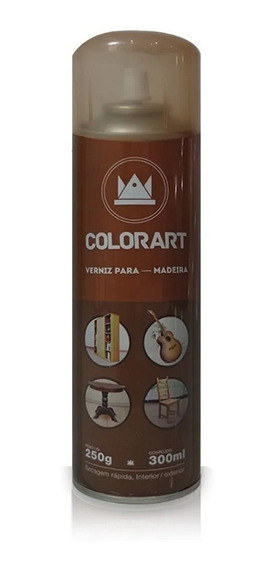 Verniz Spray Colorart Para Madeira Brilhante 300 Ml