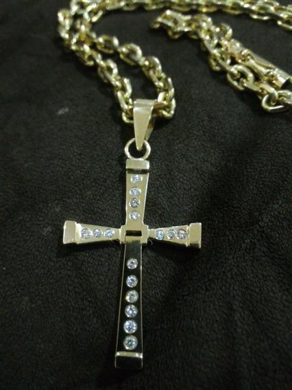 Cordão De Ouro 18k E Crucifixo C/ 16 Diamantes 110 Gramas