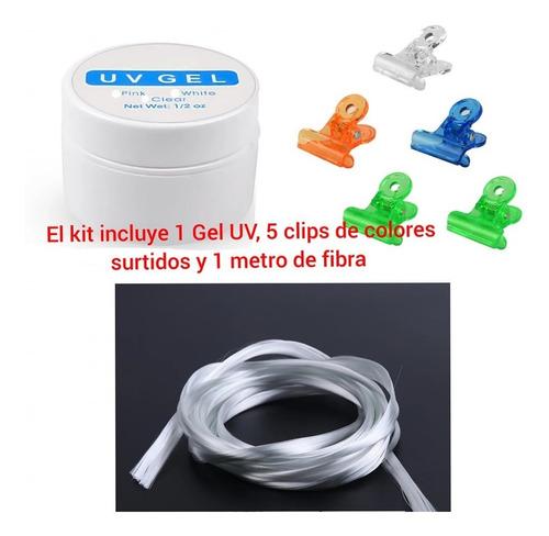 Kit Fibra De Vidrio Mas Gel Uv Y Clips Semipermanente
