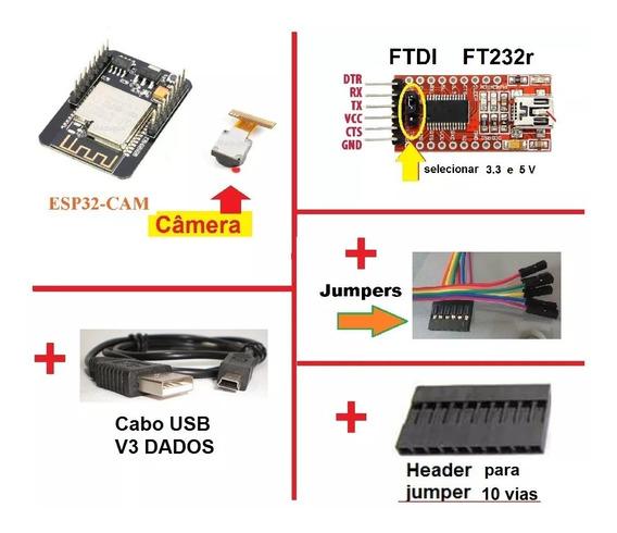 Esp32 Camera Adaptador Ftdi Ttl Cabo Jumper Header Wifi Ble