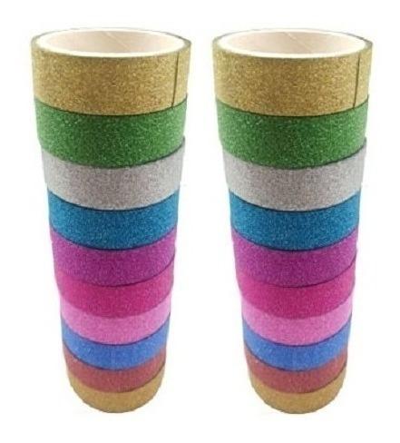 Kit Com 20 Rolos Fita Adesiva Com Glitter Washi Tape 3m Cada