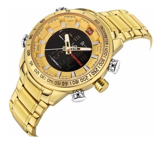 Relógio Naviforce 9093 Dourado Original Pesado Grande