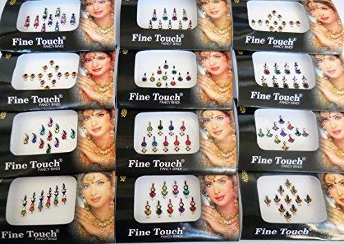 6 Paquetes- 42 Bindis Mix N Match Face Jewels Etiquetas Adhe