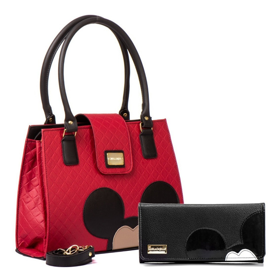 Bolsas Femininas Transversal Forrado Mickey + Carteira