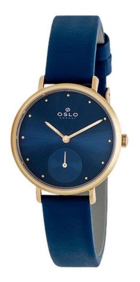 Relógio Feminino Slim Oslo Dourado Pulseira De Couro Azul