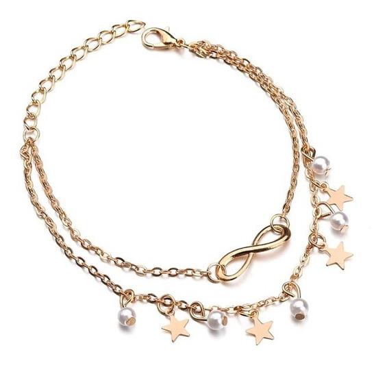 Estrelas Com Pérolas & Infinity Pulseira Tornozelo Dourada