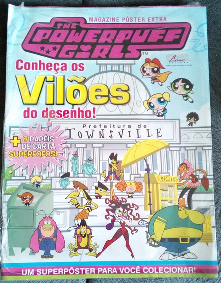 Revista Pôster Nº 02 Meninas Super Poderosas 8 Papéis Cartas