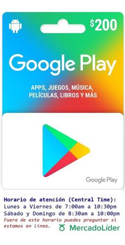 Imagen 1 de 2 de Tarjeta Google Play De 200 Pesos Mercado Líder