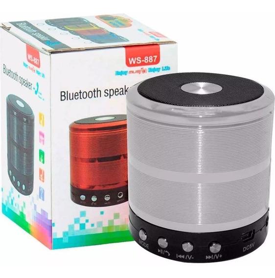 5 Mini Speaker Ws-887 Caixa Som Portátil Mp3 Sd Bt Atacado