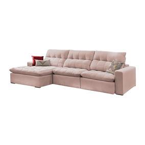 Sofá Retrátil E Reclinável 4 Lugares Rosé Com Chaise Octans