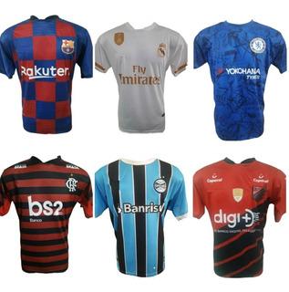 Kit Com 5 Camisetas De Times Europeus Brasileira E Seleções