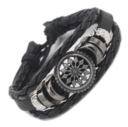 Pulseira Bracelete Masculina Regulável Trançado Em Couro
