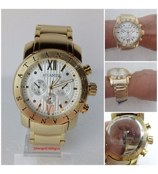 Relógio Masculino Dourado Atlantis A3310 Estilo Bugary