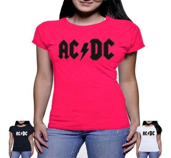 Camiseta Ac Dc Feminina Baby Look Camisa Acdc Blusa Rock