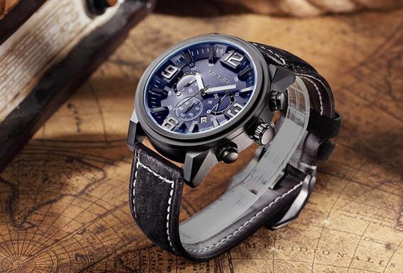 Relógio De Pulso Preto Original Militar Luxo Super Promoção