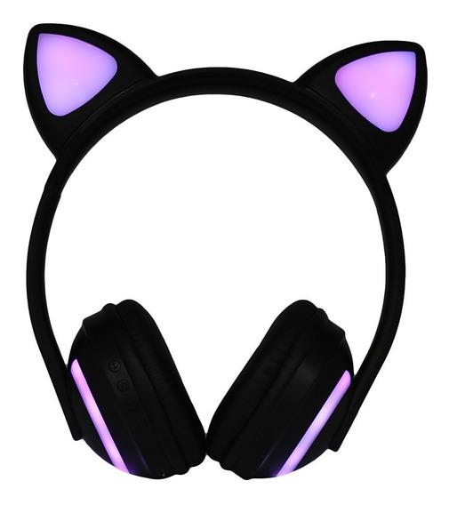 Headfone Orelha De Gato Led Colorido Bluetooth
