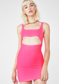 Hot Pink Bodycon Mini Dress With Underboob Cutout Sexy Af
