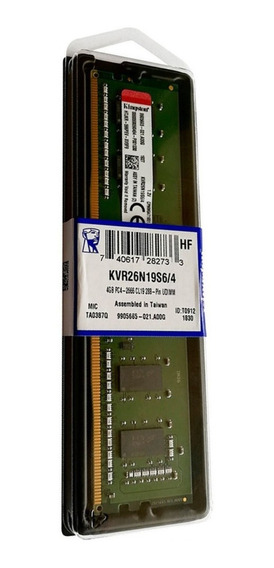 Memoria RAM 4GB 1x4GB Kingston KVR26N19S6/4