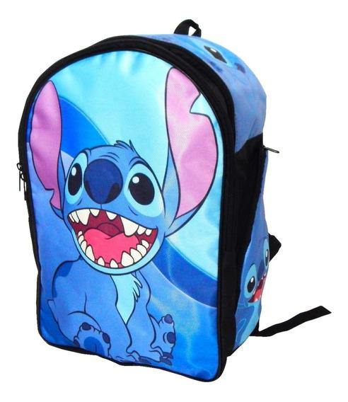 Mochila Lilo & Stitch Backpack Azul Cute Stich Sonriendo