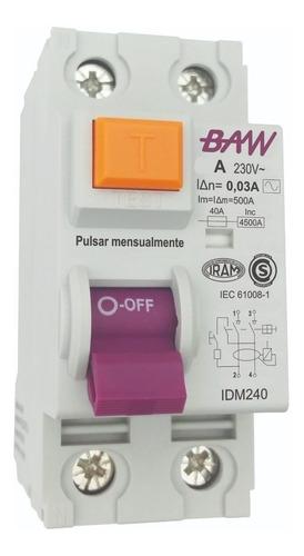 Imagen 1 de 7 de Disyuntor Bipolar 40amp 2x40 30ma Baw Iram 2 X 40a