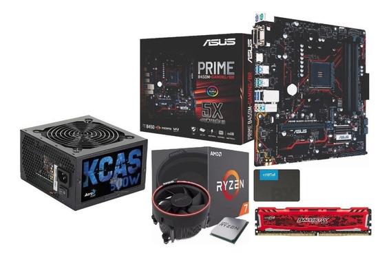 Kit Amd Ryzen R7 2700 B450m G 8gb Bls 3000 Mhz Ssd240 Kc500w
