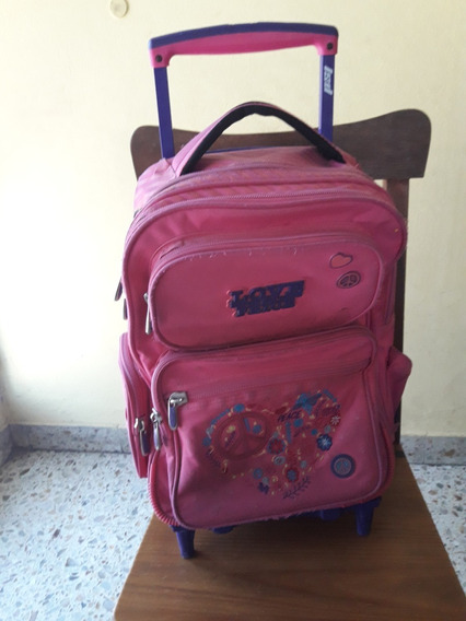 Mochila Lsd ( Modelo Love/peace ) Color Rosa Con Carro