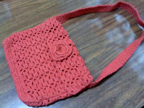 Bolsa Artesanal Crochê Vermelha