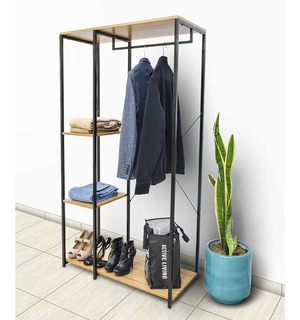 Closet Ropero Armable Portatil Madera Metal Minimalista