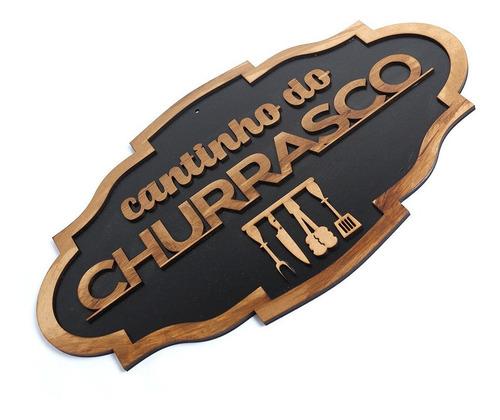 Imagem 1 de 4 de Placa Decorativa Cantinho Do Churrasco Madeira Rustica