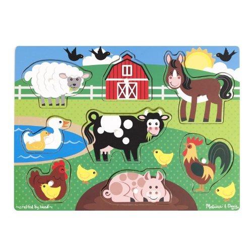 Melissa - Doug Farm Peg Puzzle De Madera (8 Piezas)