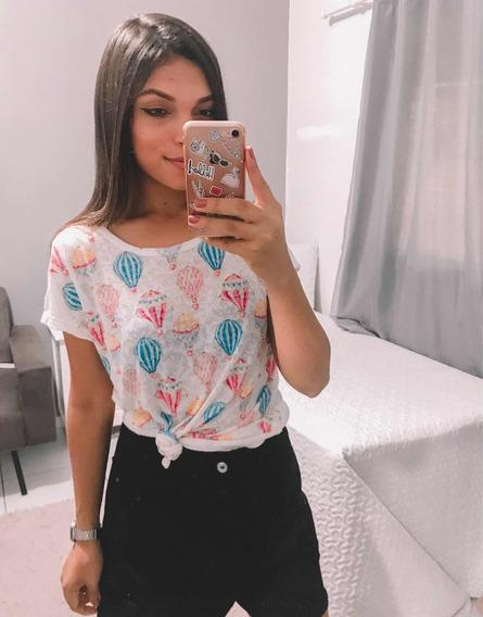 Tshirt Balões Diferente Estilosa Viscose