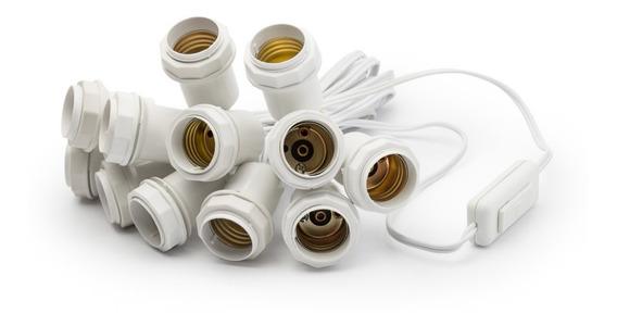Kit Instalação Camarim 12 Bocais + 12 Lâmpadas Leitosas 127v