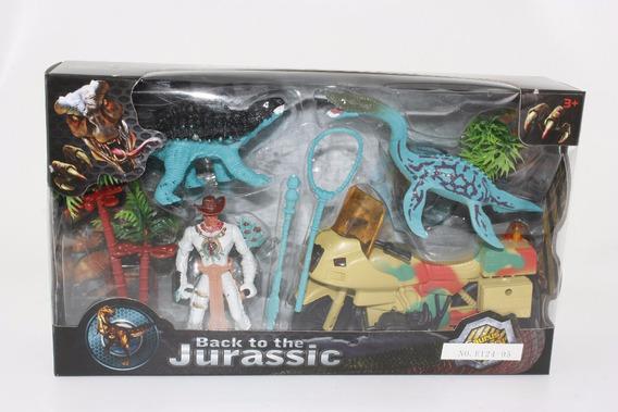 Dinosaurios 3 Figuras Playset 4 Con Accesorios En Caja