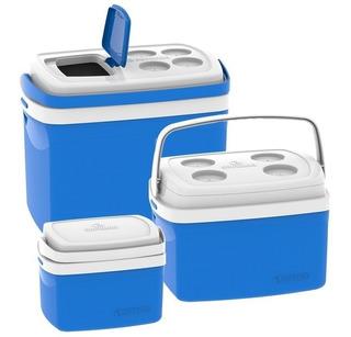Combo 3 Cooler Caixa Térmica 32l + 12l E 5l Bebidas Soprano