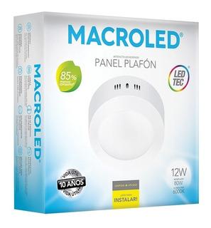 Macroled Panel Plafón Redondo Led 12w Frío Pr12