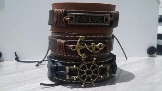 Pulseira Bracelete Couro Fecho Ajustável 3 Und