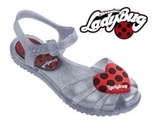 Sandália Ladybug Infantil Feminina Grendene Kids Original Calçado Cinza C Glitter Chinelo Rasteira Menina